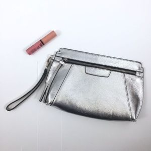 Express Metallic Zipped Pouch Wristlet